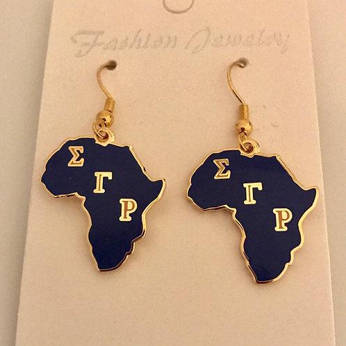 Sigma Gamma Rho Africa Earrings