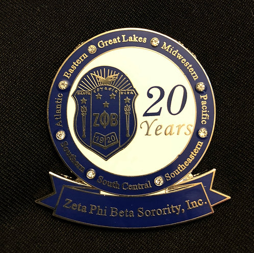 Zeta 20 Years of Service Pin