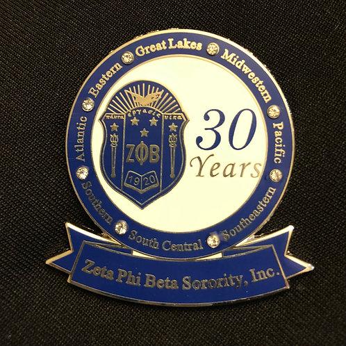 Zeta 30 Years of Service Pin