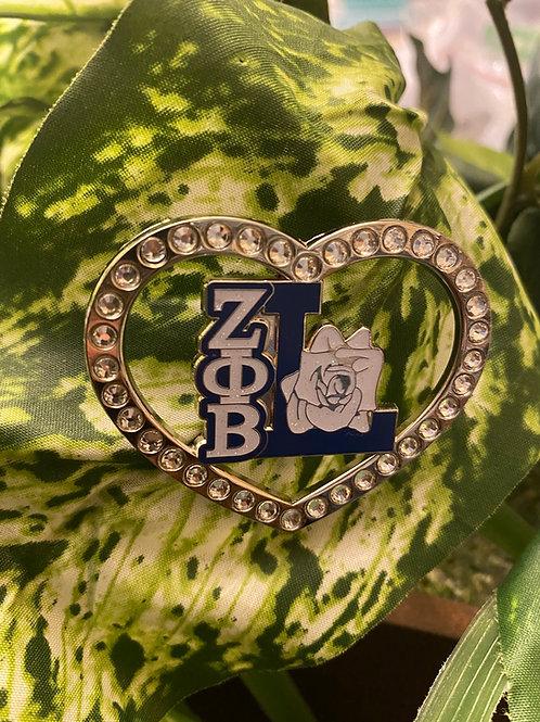 Zeta Life Member Heart Lapel Pin