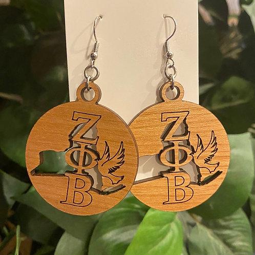 New York Zeta Wooden Earrings-2 inches