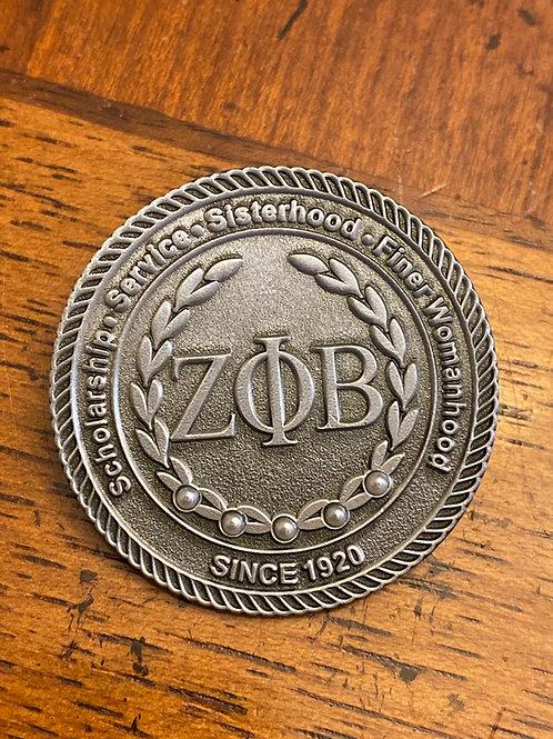 Zeta Antique Silver Executive Lapel Pin