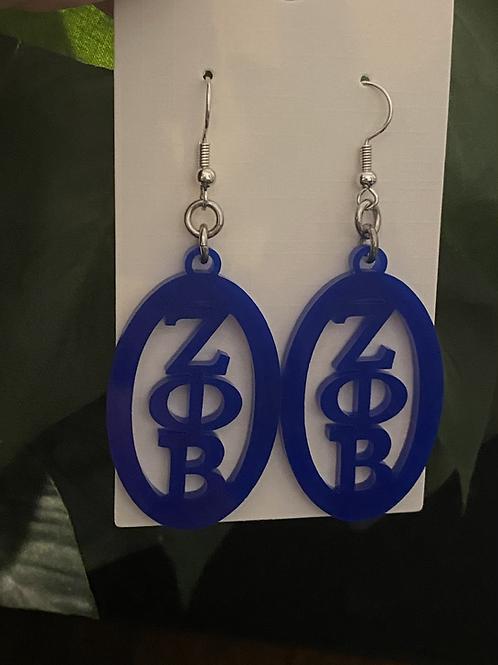Zeta Oval Royal Acrylic Earrings