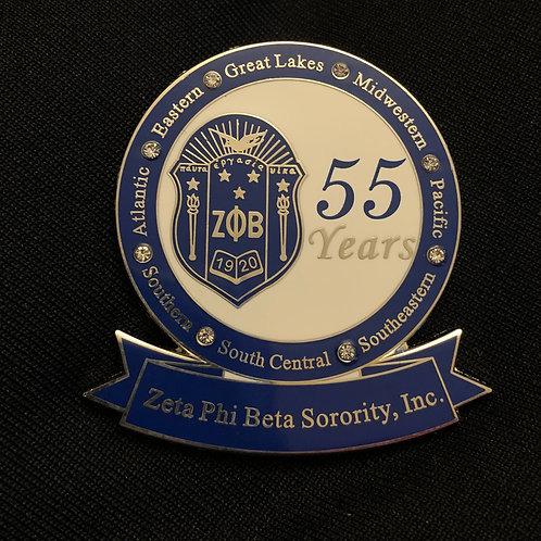 Zeta 55 Years of Service Pin