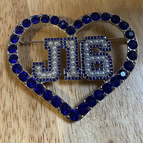 J16 Crystal Heart Lapel Pin (Royal)