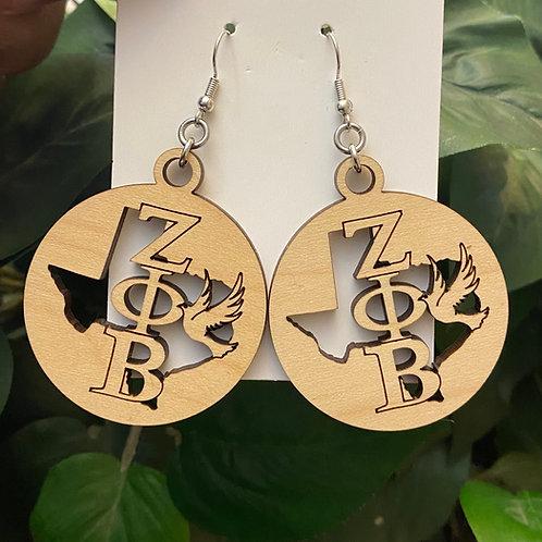 Texas Zeta Wooden Earrings-2 inches