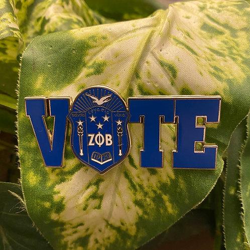 Zeta Royal/White Shield Vote Lapel Pin
