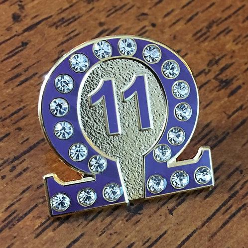 Omega Psi Phi Line Number 11 Lapel Pin
