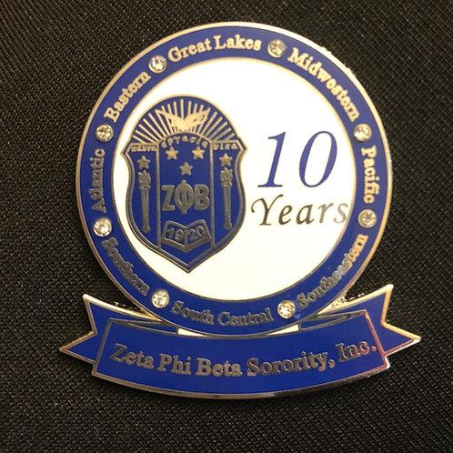 Zeta 10 Years of Service Pin