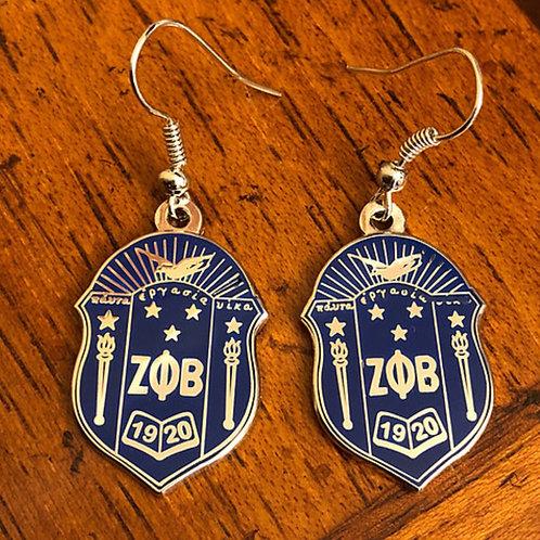 Zeta Phi Beta Shield Set  (Bracelet and Earrings)