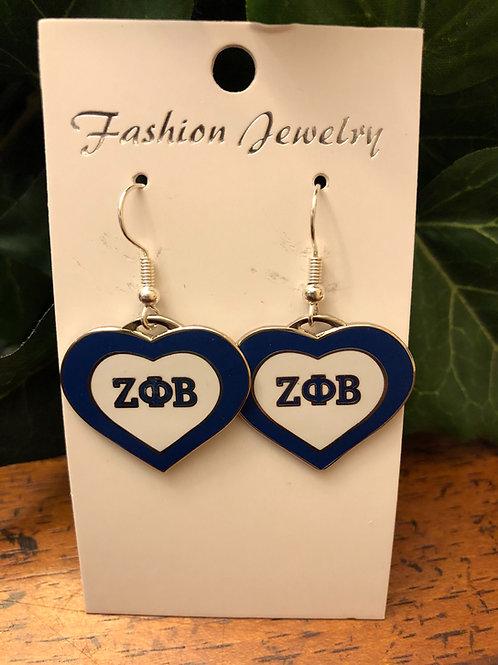 Zeta Phi Beta Heart Earrings