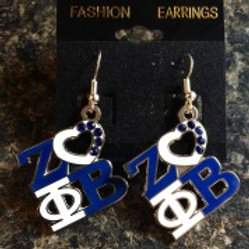 Zeta Phi Beta Heart Earrings