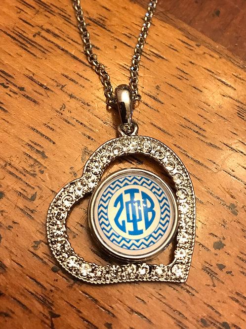 Zeta Phi Beta Heart Snap Necklace