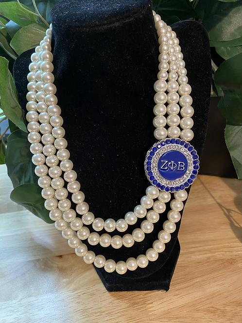 Zeta Phi Beta Crystal 3 Strand Pearl Necklace