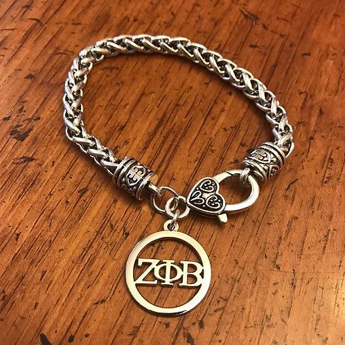 Silver Plated Zeta Letter Bracelet