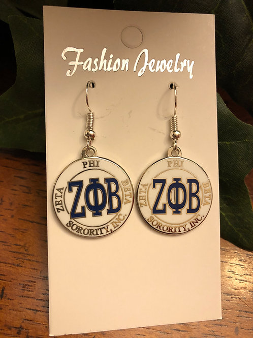 Zeta Phi Beta LTR earrings (white)