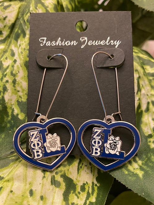 Zeta Life Member Heart Earrings