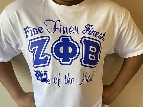 Zeta Fine Finer Finest T-shirt All Royal (White)