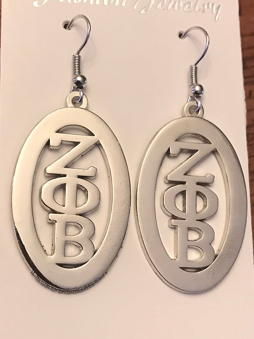 Zeta Phi Beta Oval Letter Earrungs