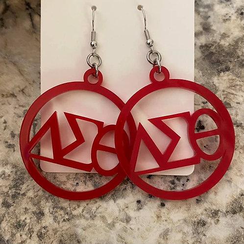 Delta Red Acrylic Earrings