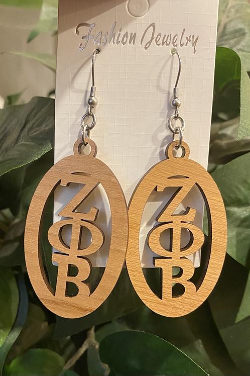Zeta Oval wooden Earrings