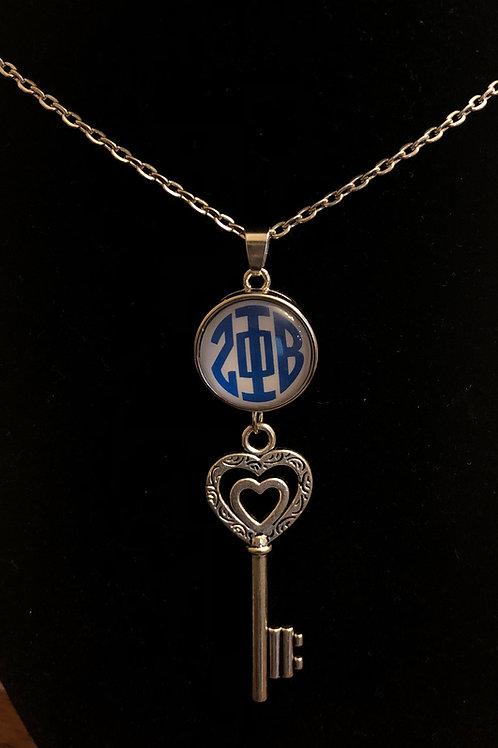 Zeta Phi Beta Snap Key Necklace