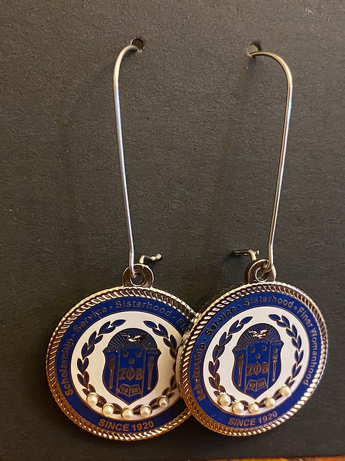 Zeta Blue Shield Executive Earrings