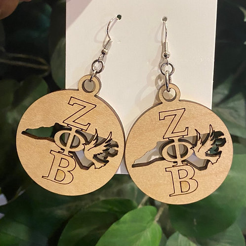 North Carolina Zeta Wooden Earrings-2 inches
