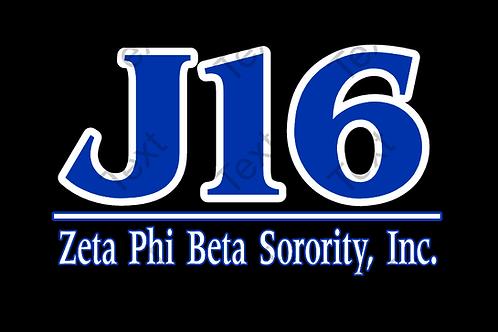 J16 (Blue Letters) Black T-shirt