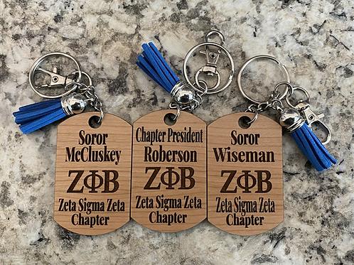 Zeta Chapter Keychain with Name