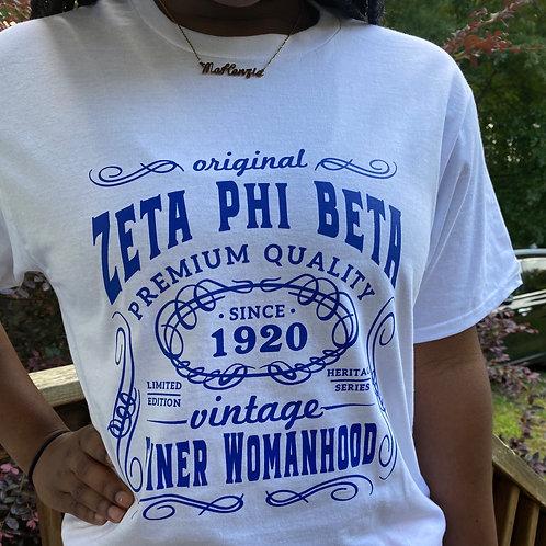 Zeta Phi Beta White Vintage T Shirt