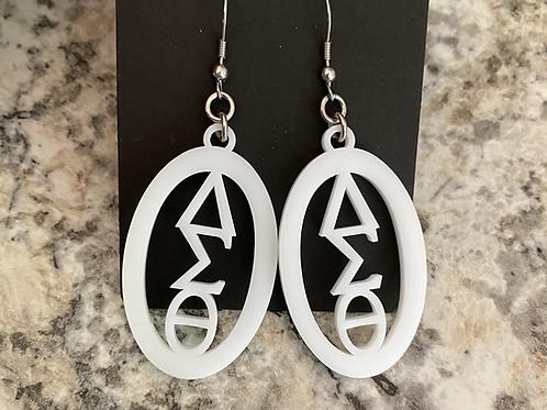 Delta White Acrylic Oval Earrings