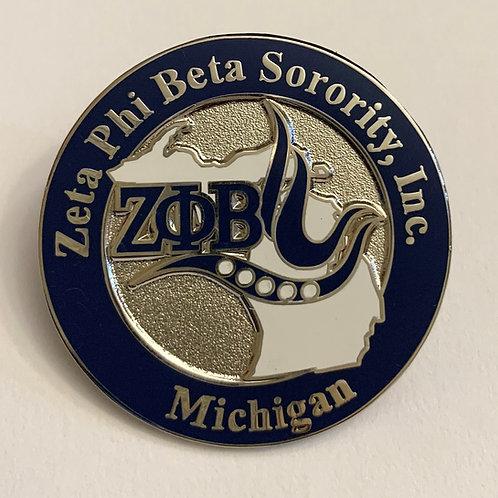 Zeta Phi Beta Michigan Lapel Pin