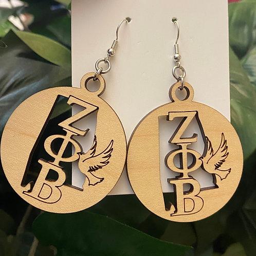 Alabama  Zeta Wooden Earrings-2 inches