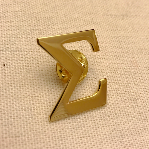 Gold Plated Sigma Letter Lapel Pin