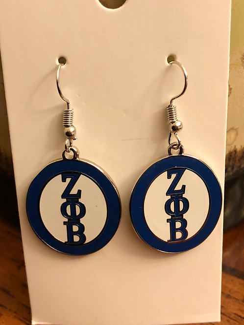 Zeta Phi Beta Oval Earrings