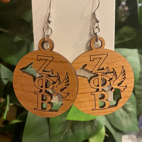 Michigan Zeta Wooden Earrings-2 inches