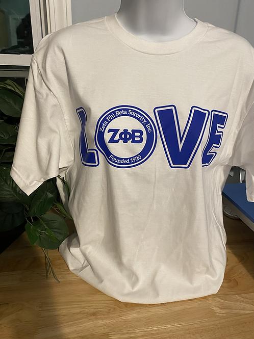 White LOVE Zeta T-Shirt