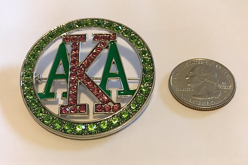 Alpha Kappa Alpha Large Crystal Lapel Pin