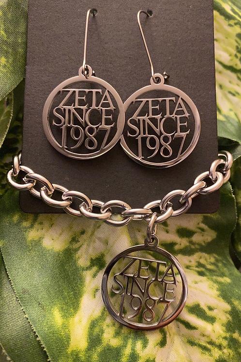 Zeta Since (2010-2020) StainlessBracelet and Earrings Set