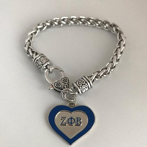 Zeta Phi Beta Silver Plated Heart Bracelet