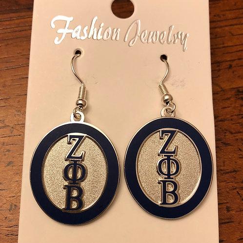 Zeta Phi Beta Round Letter Earrings
