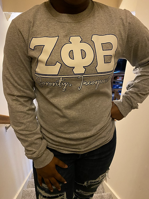Zeta Phi Beta Grey Letter T-shirt