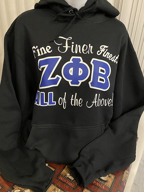 Zeta Fine Finer Finest  (Black) Hoodie