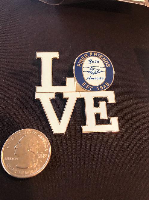 Large Zeta Amicae Love lapel pin
