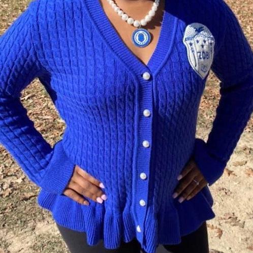 Zeta Royal Ruffled Sweater