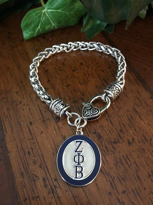 Zeta Oval Letter Lobster Claw Bracelet