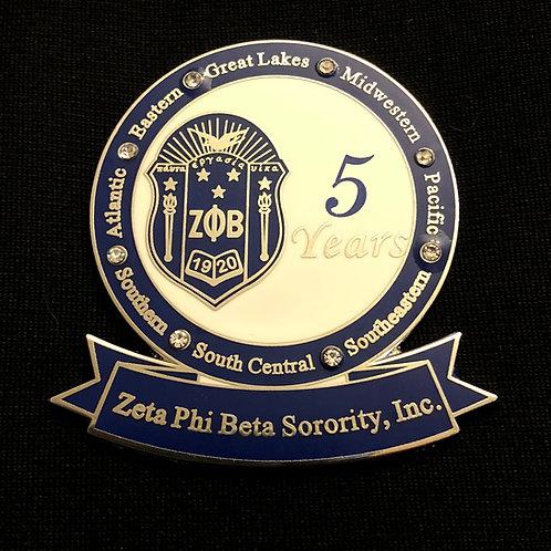 Zeta 5 Years of Service Pin