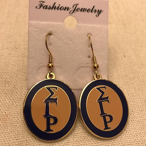 Sigma Gamma Rho Oval Letter Earrings