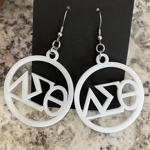 Delta White Acrylic Earrings